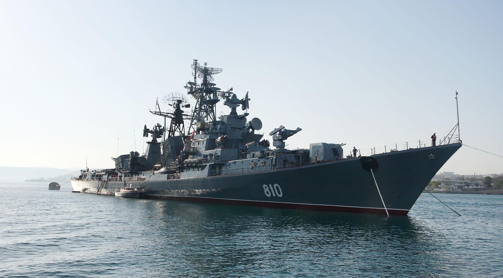 Naval ship on sea